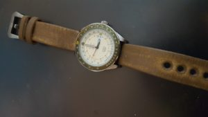 Seiko 5 on distressed leather