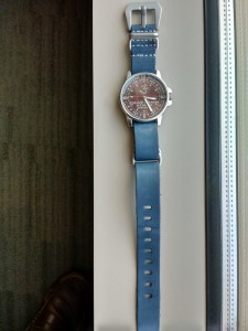 Leather G10 NATO watch strap in blue