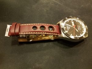 Tissot PRS516 with 20mm Burgundy Rally Strap
