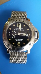 My Panerai OP8561 fitted with a heavy shark mesh bracelet supplied by strapsco