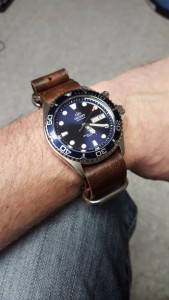 Orient Blue Ray w/ 22mm vintage distressed NATO strap