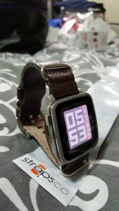 Pebble Time Steel with dark brown zulu leather band