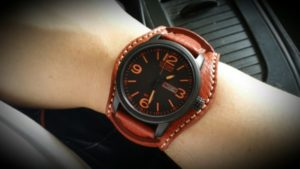 Strapco Crimson bund strap on Citizen Eco-Drive