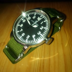 Looks great! 55mm Revue Thommen automatic pilot. Polished on polished with military green. Thank you from Winnipeg, Canada #GoJetsGo