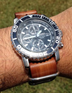 Seiko Chronograph on Strapsco 22mm Brown Vintage NATO G10 Leather watch strap with polished rings...Awesome!!!