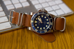 G10 Zulu in rust on my blue Helson Shark Diver 45mm, very comfortable and phenomenal band!