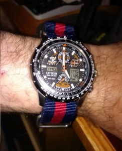 NATO 22mm Blue-Red-Blue on Citizen Sky Hawk