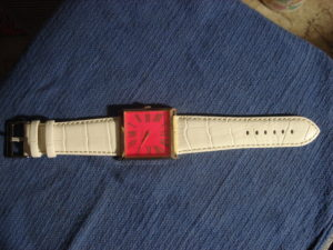 Premium Crocodile Embossed White Leather Strap on Old England watch