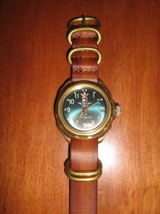 Vintage Soviet military watch KOMANDIRSKIE on a Nato vintage G10 strap with bronze rings in brown