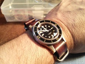Strapsco vintage brown NATO g10 on my Helson Skindiver!! Love it!!