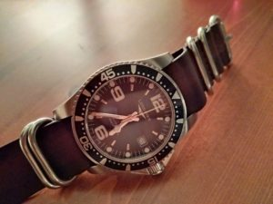 Longines HydroConquest on dark brown leather Vintage Nato Zulu G10 strap