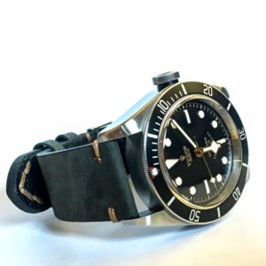 Tudor Black Bay Black on DASSARI Tribute Vintage Italian Leather Distressed Watch Strap