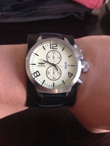 Invicta watch with cuff leather strap