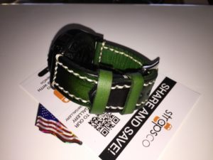 Green-black white stitch on black watch