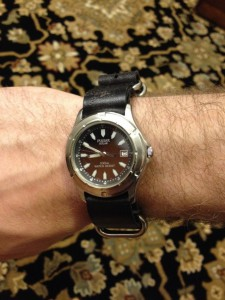 Black leather nato on Pulsar pua019