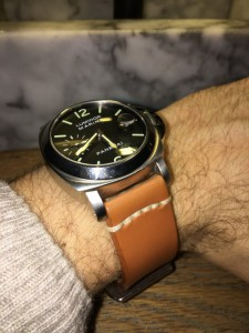 Luminor with beige casual strap with Panerai style clasp.