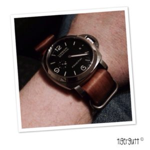 Panerai 312 with vintage brown leather G10 Zulu from StrapsCo