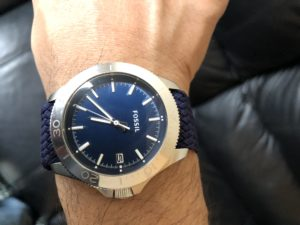 Blue Dial Fossil With Navy Blue Strap