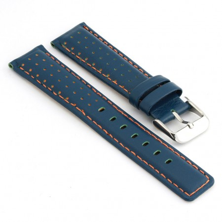 367.5 Perforated Rally Strap in Blue with Orange Stitching