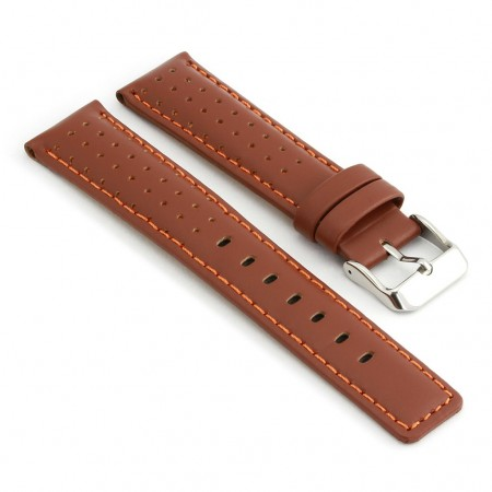 367.9 Perforated Rally Strap in Brown Orange Stitching