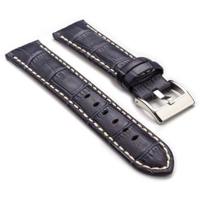 1ef9ea7e1 378.5 Crocodile Embossed Padded Leather Watch Strap with Contrast  Stitchingi n Blue