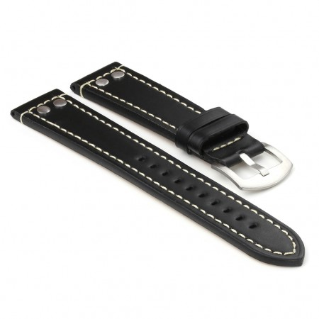 381.1 Leather Strap with Rivets in Black