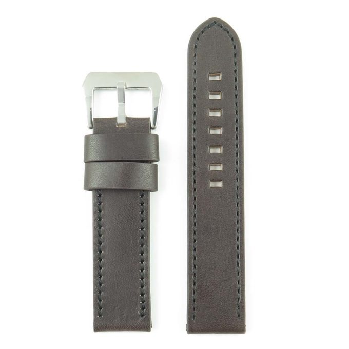 cbc26d959 384.2.1 Thick Flat Leather Watch Strap with Contrast Stitching in Dark Brown
