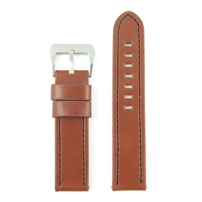 caca65fac Leather Watch Strap with Contrast Stitching in Rust with Black Stitching