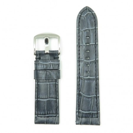 DASSARI Cartel p547.1 Thick Padded Crocodile Embossed Leather Strap in Charcoal
