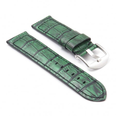 DASSARI Cartel p547.11 Thick Padded Crocodile Embossed LeatherStrap in Green