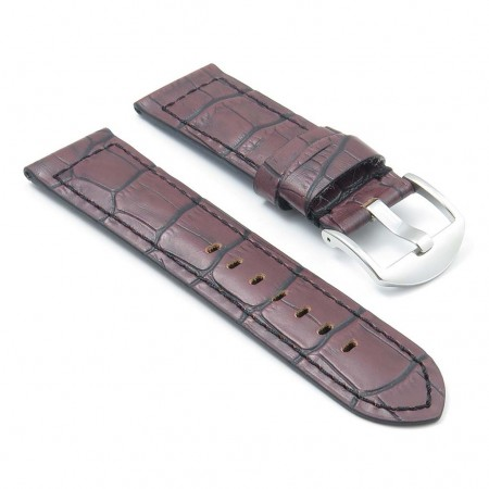 DASSARI Cartel p547.2 Thick Padded Crocodile Embossed Leather Strap in Brown