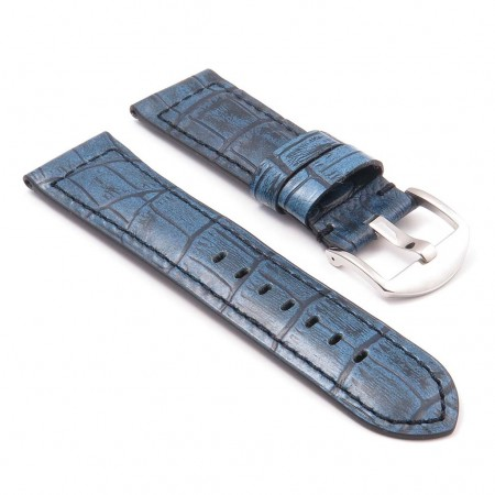 DASSARI Cartel p547.5 Thick Padded Crocodile Embossed Leather Strap in Blue