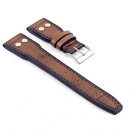 DASSARI Continental iw5.2 Vintage Italian Leather Strap w Rivets in Brown