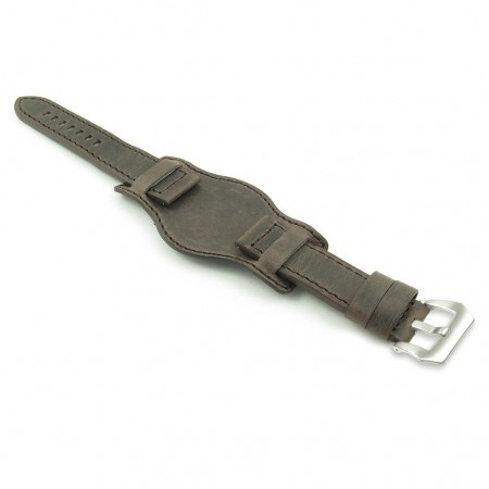 DASSARI Legend p612.2 Distressed Italian Leather Bund Strap in Dark Brown