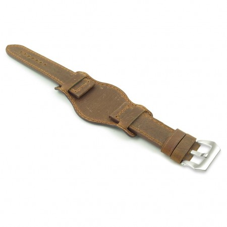 DASSARI Legend p612.3 Distressed Italian Leather Bund Strap in Tan