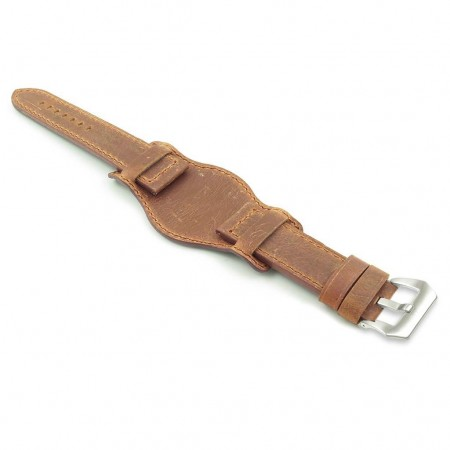 DASSARI Legend p612.8 Distressed Italian Leather Bund Strap in Rust