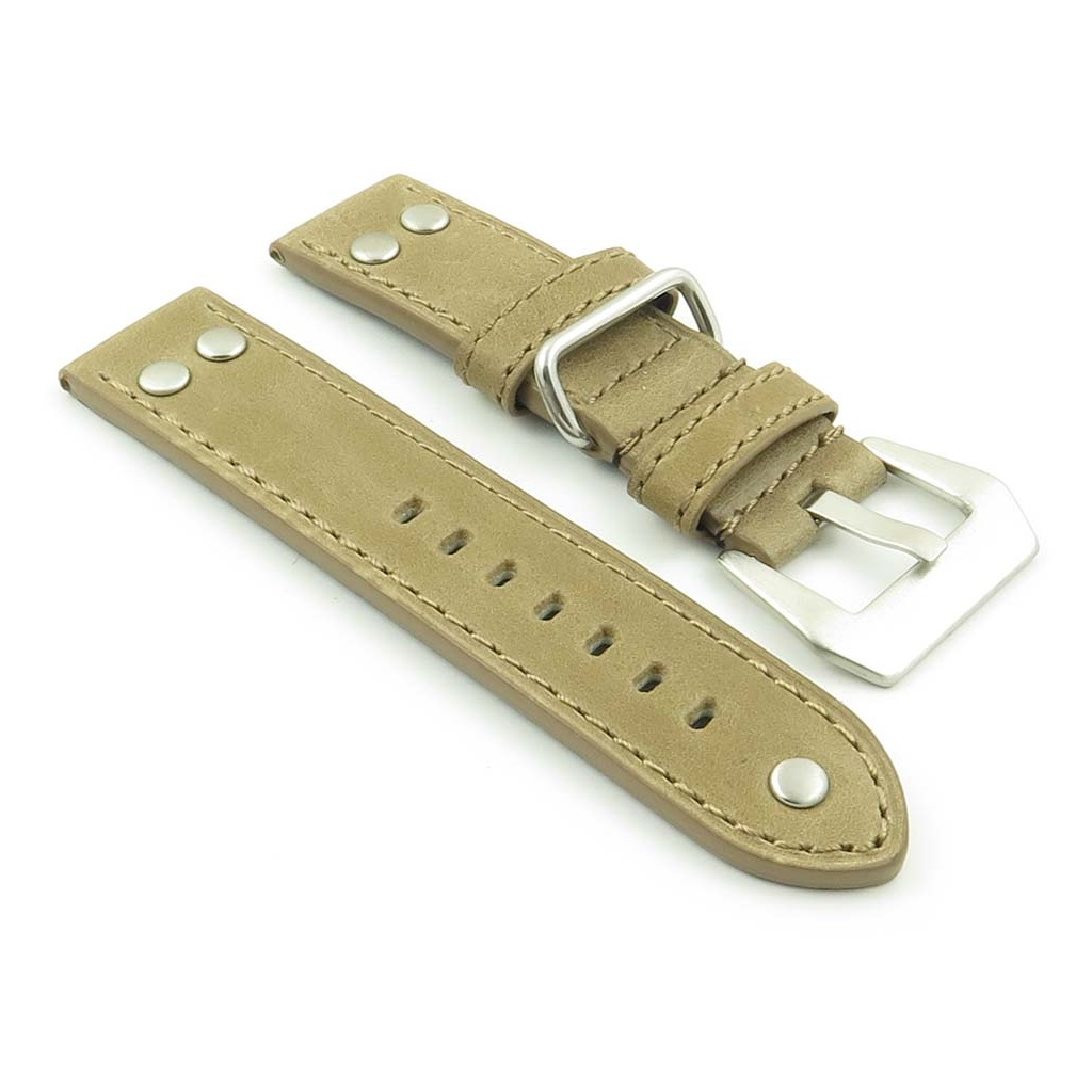 DASSARI Liberty P600.3 Leather Strap with Metal Keeper and Rivets in Tan