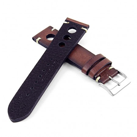 DASSARI Maranello ra3.2 Hand Finished Vintage Italian Leather Rally Strap in Brown