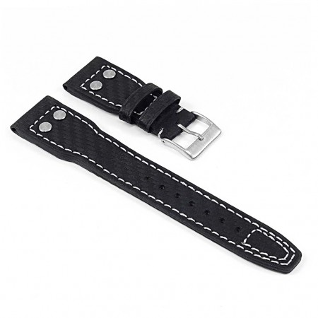 DASSARI Mirage iw6.1.22 Carbon Fiber Strap w Rivets in Black with White Stitching