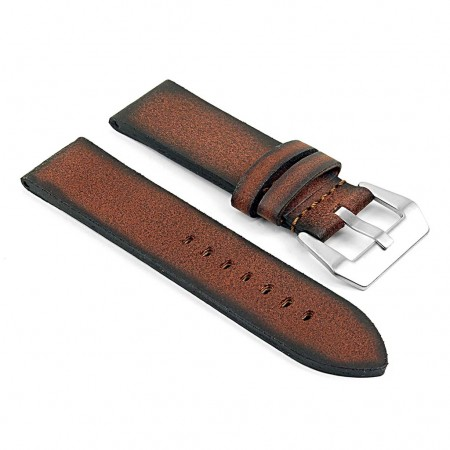 DASSARI Opus ps2.8 Thick Distressed Italian Leather Strap in Rust
