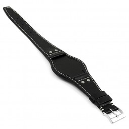 DASSARI Quest db3.1 Vintage Leather Bund Strap w Rivets in Black