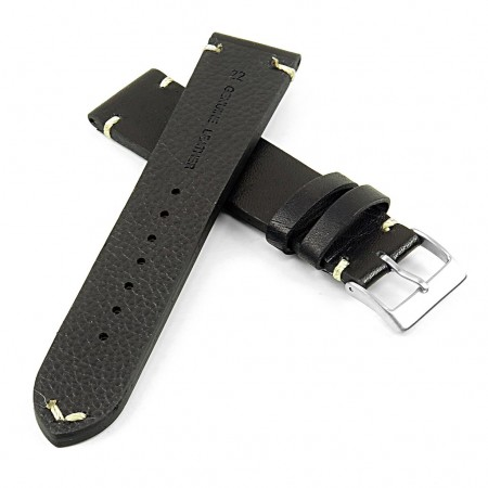 DASSARI Regal ds7.1 Vintage Leather Strap with Hand Sewn Stitching in Black