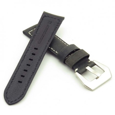 DASSARI Salvage p560a.1Thick Padded Distressed Italian Leather Strap w Pre V Buckle in black