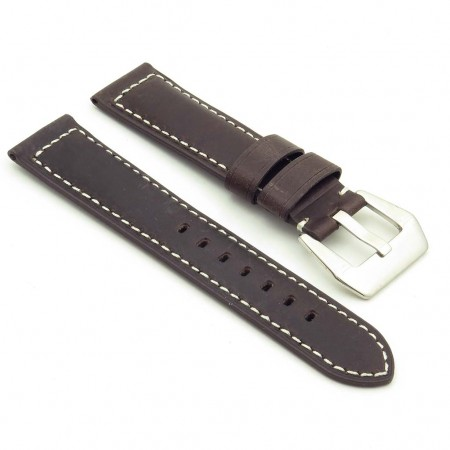 DASSARI Salvage p560a.2 Thick Padded Distressed Italian Leather Strap w Pre V Buckle in dark brown