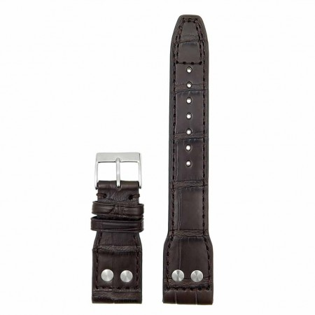 DASSARI Special Reserve iw4.2 Genuine Louisiana Alligator Strap with Rivet in dark brown
