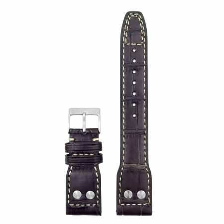 DASSARI Special Reserve iw4.2.22 Genuine Louisiana Alligator Strap with Rivet in brown with white stitching