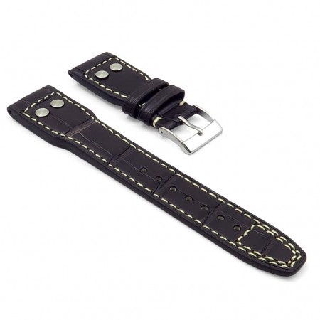 DASSARI Special Reserve iw4.2.22 Genuine Louisiana Alligator Strap with Rivet in dark brown with white stitching