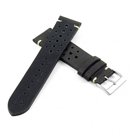 DASSARI Speedster ra2.1 Perforated Vintage Leather Rally Strap in black