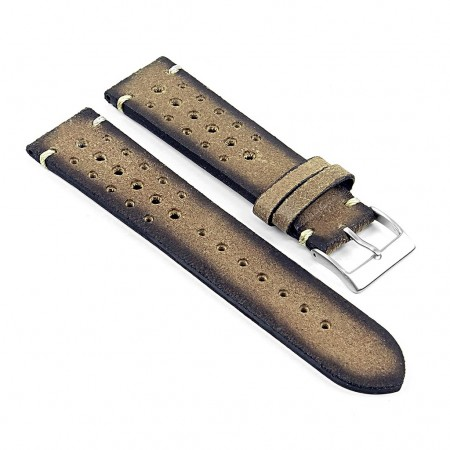 DASSARI Speedster ra2.2 Perforated Vintage Leather Rally Strap in Brown