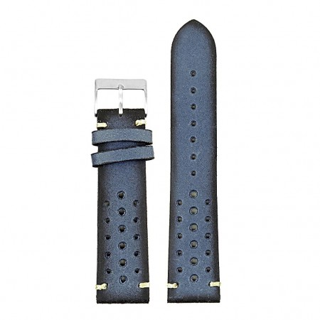 DASSARI Speedster ra2.5 Perforated Vintage Leather Rally Strap in Blue